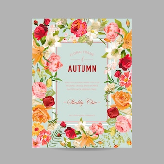 Autumn photo frame with orchid and lily flowers. seasonal fall design card