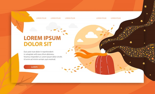 Autumn photoshoot vector landing page template