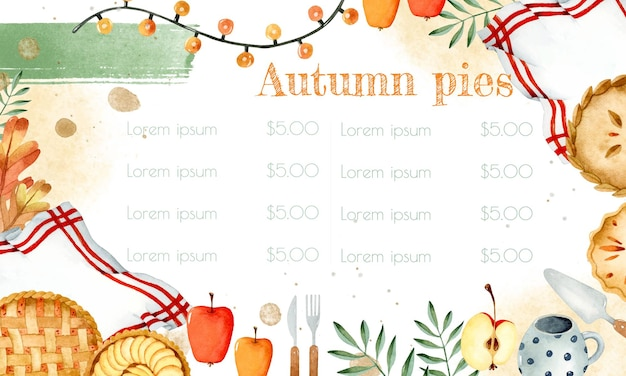 Осенние пироги специальное меню акварель шаблон