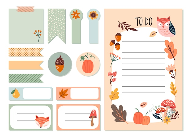 Autumn planner stickers set and to do list with cute seasonal elements, hand drawn design