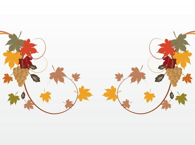 Autumn plant leaves decorations vector