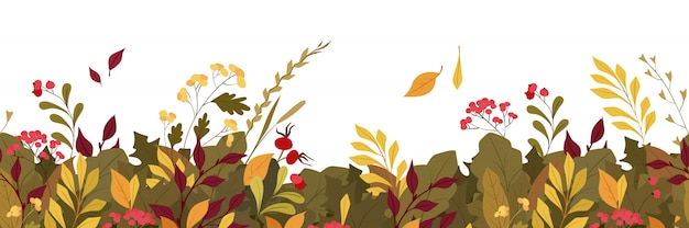 Autumn plants leaves flat vector horizontal
