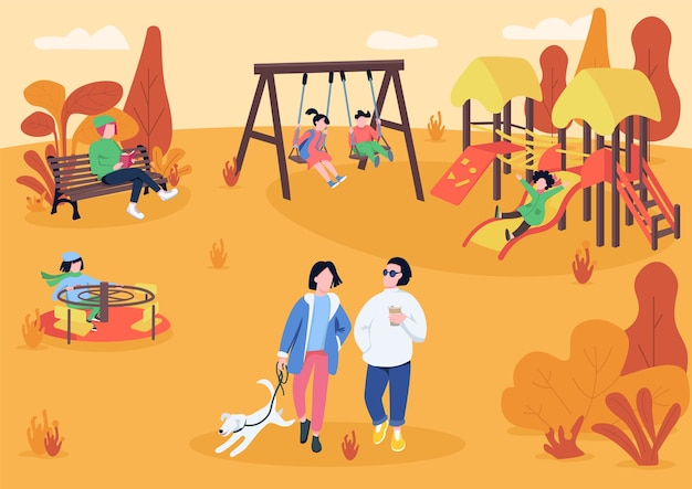 Autumn playpark with visitors flat color illustration