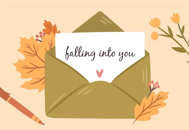 葉の構成と秋のポスト秋の季節の要素で飾られた封筒のラブレター