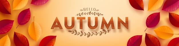 Autumn poster and banner template with wooden textured font and autumn colorful leaves on yellow background