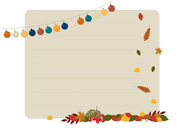 Autumn poster illustration with fall foliage, garland and notebook leaf