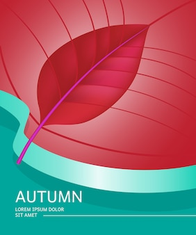 Autumn poster with leaf shape