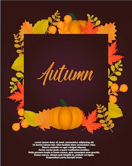 Autumn poster with leaves and floral elements.