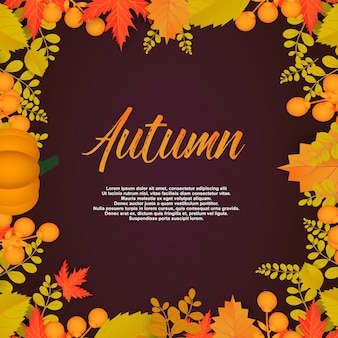 Autumn poster with leaves and floral elements
