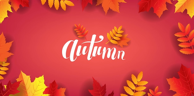 Осенний плакат с буквами текста с листьями