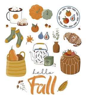 Autumn poster with pumpkin and other elements.
