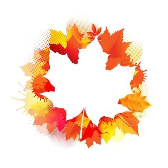 Осенний плакат с пятнами и листьями плакат