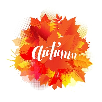 Autumn poster with stain and leaves