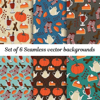 Autumn pumpkin and cinnamon seamless background vector set