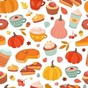 秋のカボチャ柄。カボチャのスパイス、シナモンの温かい飲み物、ペストリーのプリント。感謝祭の食べ物、パイケーキコーヒーベクトルシームレスなテクスチャ。秋のカボチャ、ラテの飲み物と飲み物のイラスト