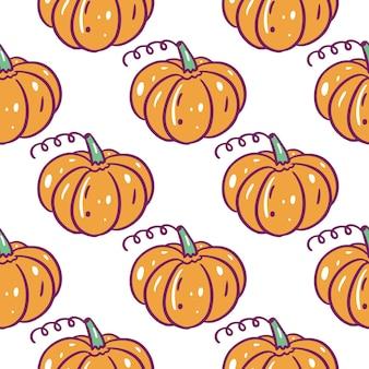 Autumn pumpkin seamless pattern. hand drawn