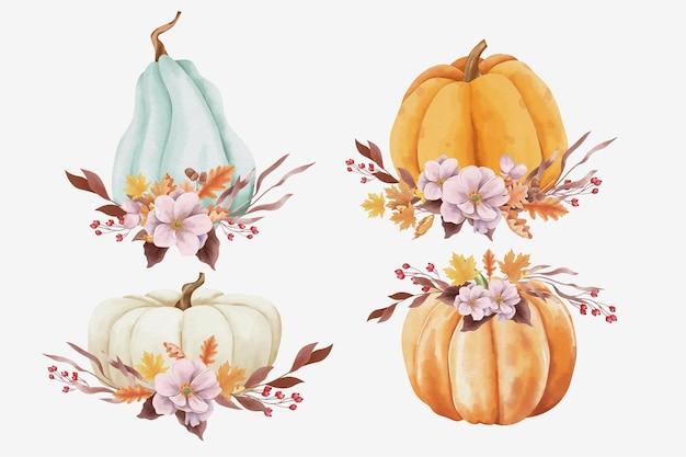 水彩風の秋のカボチャと葉
