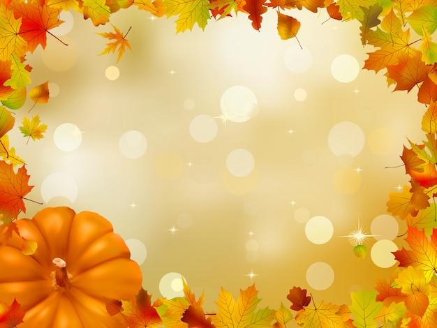 秋のカボチャと葉。