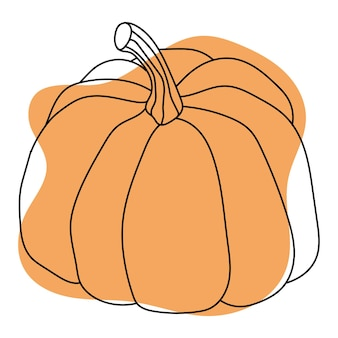 Autumn pumpkins drawing by black line on colored background isolated image