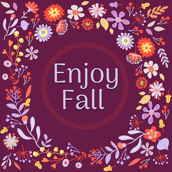Autumn purple background with flowers
