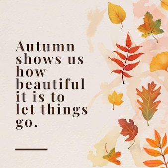 Autumn quote template vector for social media post