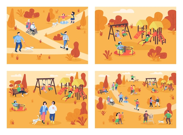 Осенняя зона отдыха плоский цветной набор иллюстраций
