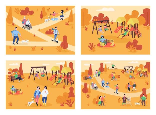 Autumn recreation area flat color illustration set