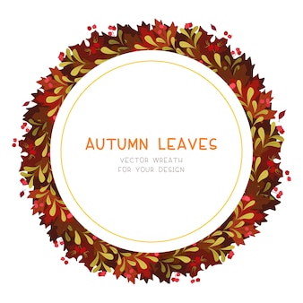 Autumn red leaves flat vector decorative round frame. retro fall foliage with red guelder berries. seasonal botanical wreath with copyspace