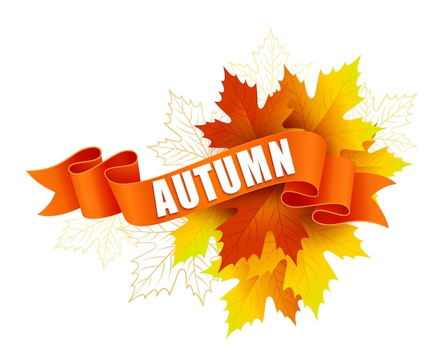 Autumn on ribbon with autumn leaves