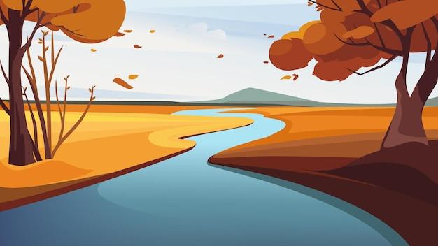 Осенний речной пейзаж. красивые природные пейзажи.