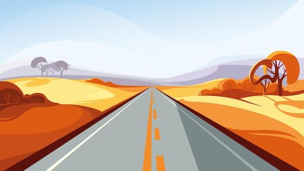 地平線に伸びる秋の道。美しいアウトドアシーン。