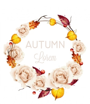 Autumn roses wreath card watercolor