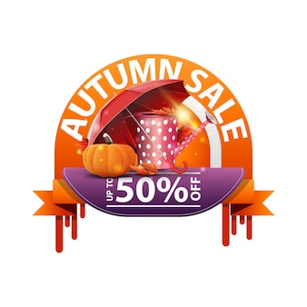 Autumn, round discount banner for your website with garden watering can