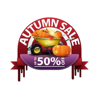Autumn, round discount banner for your website with garden wheelbarrow with a harvest of pumpkins and autumn leaves