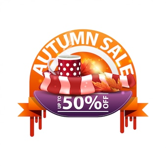 Autumn, round discount banner for your website with mug of hot tea and warm scarf