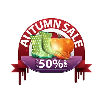 Autumn, round discount banner for your website with rubber boots and pumpkin