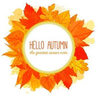 Осенняя круглая рамка рисованной золотые листья привет осенний баннер осенний дизайн для рекламы