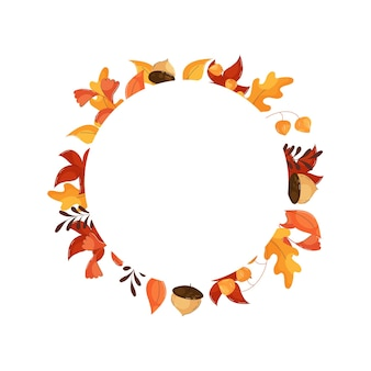 Autumn round frame with leaves, flowers and acorns in flat style