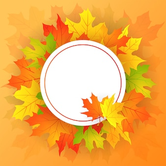 Autumn round frame with maple leaves