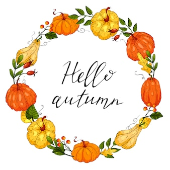 Autumn round wreath with hand drawn pumpkins, leaves and floral elements. illustration.
