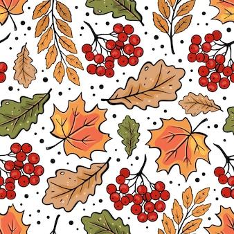 Осенняя рябина, клен, дубовые листья, осень, природа, сезон, лес, бесшовный фон, векторные иллюстрации