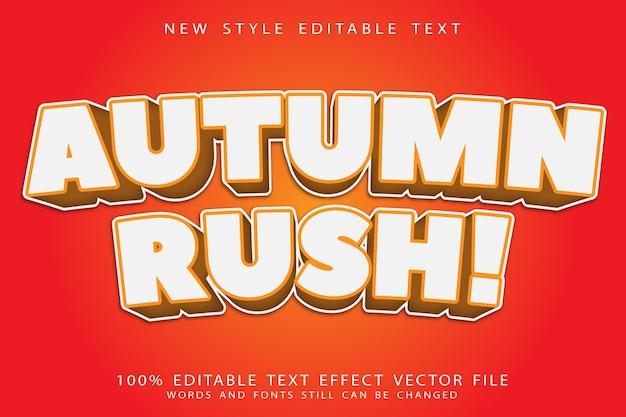 Осенняя спешка с редактируемым текстовым эффектом с тиснением в современном стиле