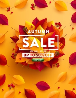 Autumn sale 50% off poster or banner with autumn colorful leaves on yellow