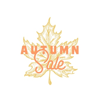 Autumn sale. abstract  retro label, sign or card template.