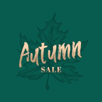 Autumn sale abstract  retro label, sign or card template.