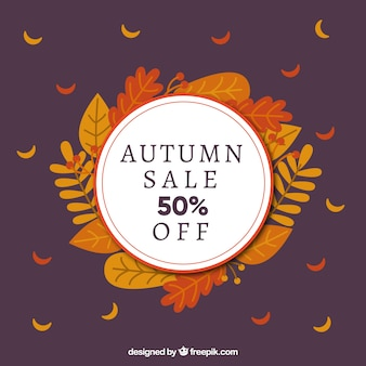 Autumn sale backgound with leaves