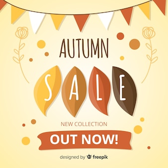 Autumn sale background in flat style