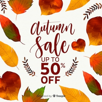 水彩スタイルの秋の販売の背景