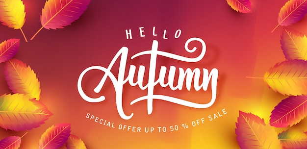 秋のセールの背景レイアウトは、ショッピングのための葉で飾る