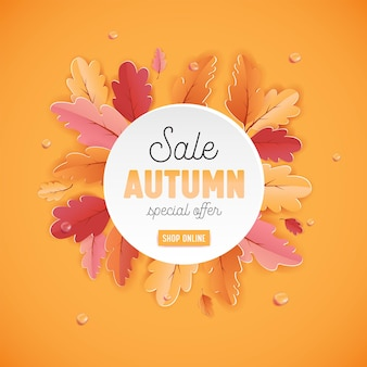 Осенняя распродажа фоновый шаблон с красивыми листьями иллюстрация для покупок, купон, рекламный плакат и веб-баннер в векторе